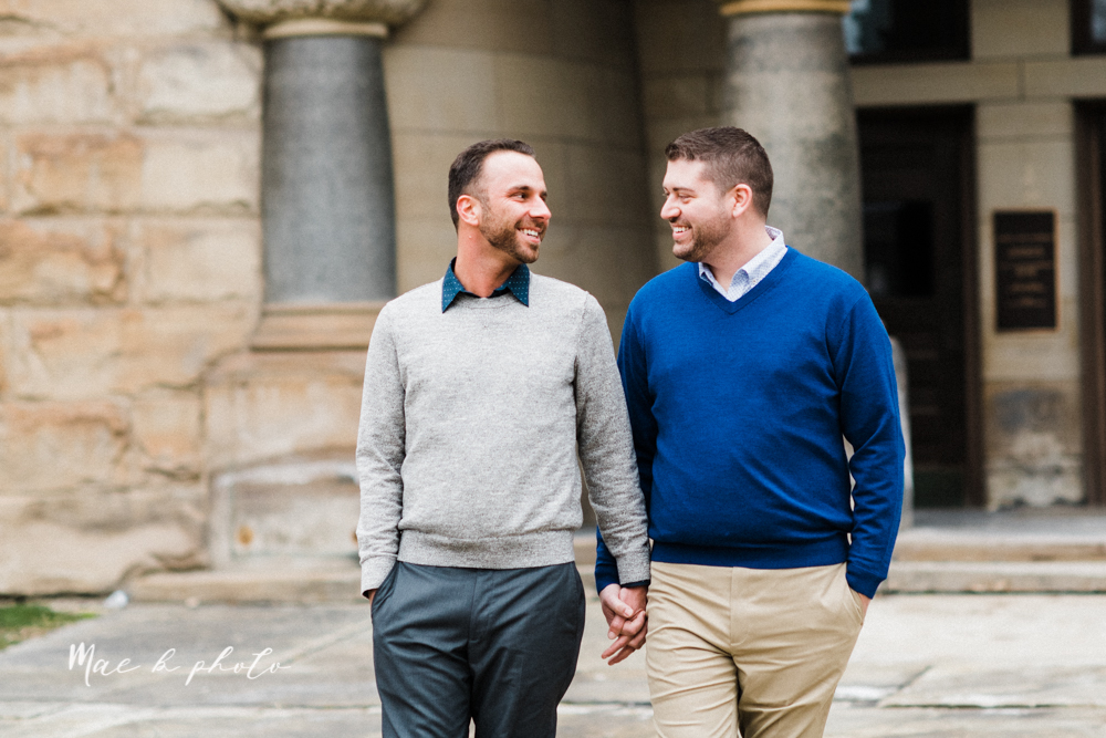 marcus and anthony's same sex winter lifestyle in home engagement session at the chase building in downtown warren ohio and at their home in niles ohio photographed by youngstown wedding photographer mae b photo-20.jpg