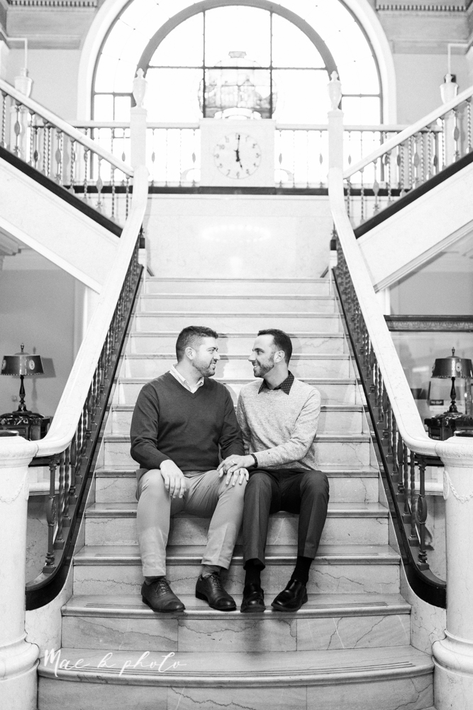 marcus and anthony's same sex winter lifestyle in home engagement session at the chase building in downtown warren ohio and at their home in niles ohio photographed by youngstown wedding photographer mae b photo-16.jpg