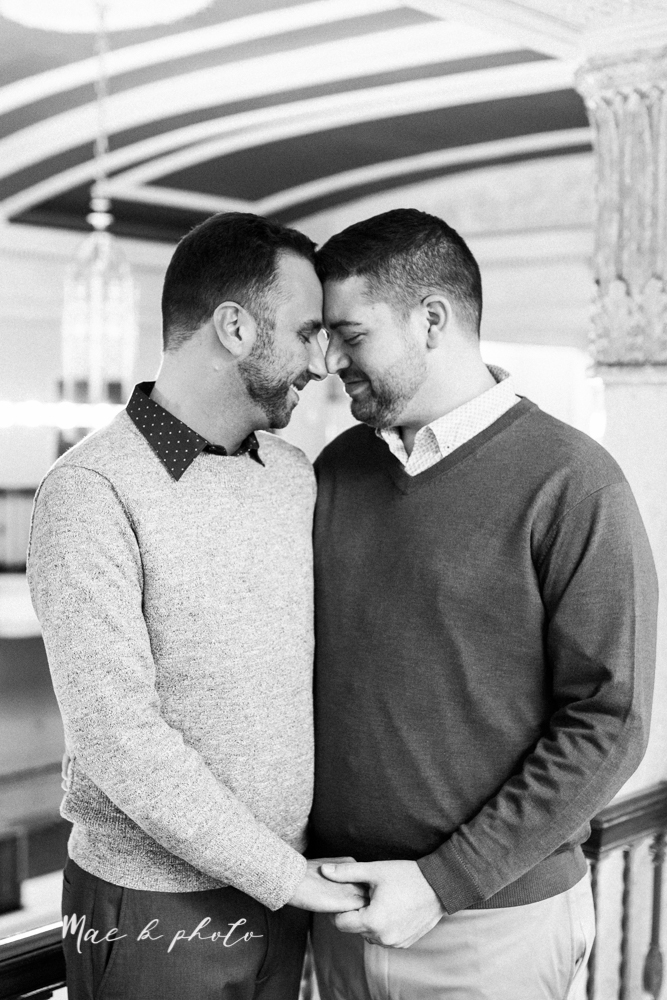 marcus and anthony's same sex winter lifestyle in home engagement session at the chase building in downtown warren ohio and at their home in niles ohio photographed by youngstown wedding photographer mae b photo-10.jpg
