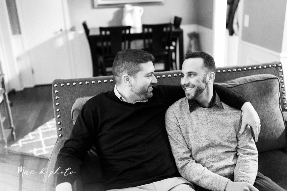 marcus and anthony's same sex winter lifestyle in home engagement session at the chase building in downtown warren ohio and at their home in niles ohio photographed by youngstown wedding photographer mae b photo-31.jpg