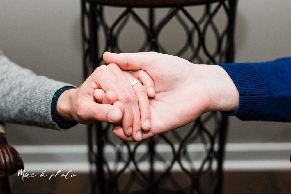 marcus and anthony's same sex winter lifestyle in home engagement session at the chase building in downtown warren ohio and at their home in niles ohio photographed by youngstown wedding photographer mae b photo-40.jpg