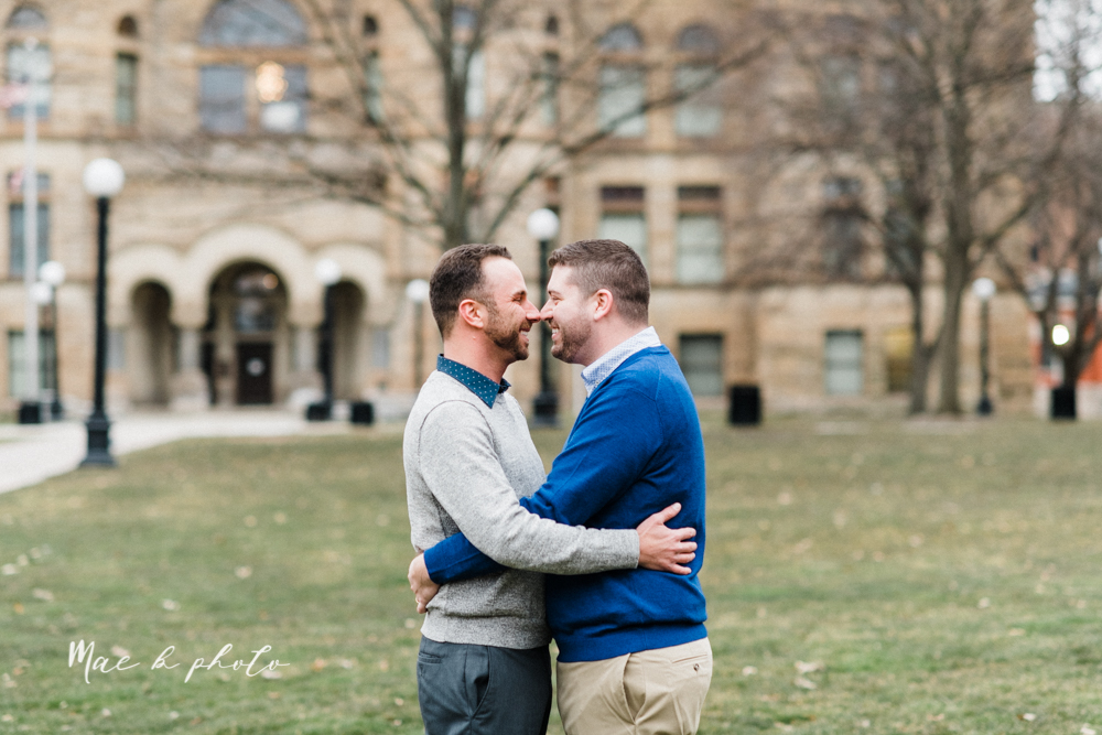 marcus and anthony's same sex winter lifestyle in home engagement session at the chase building in downtown warren ohio and at their home in niles ohio photographed by youngstown wedding photographer mae b photo-27.jpg