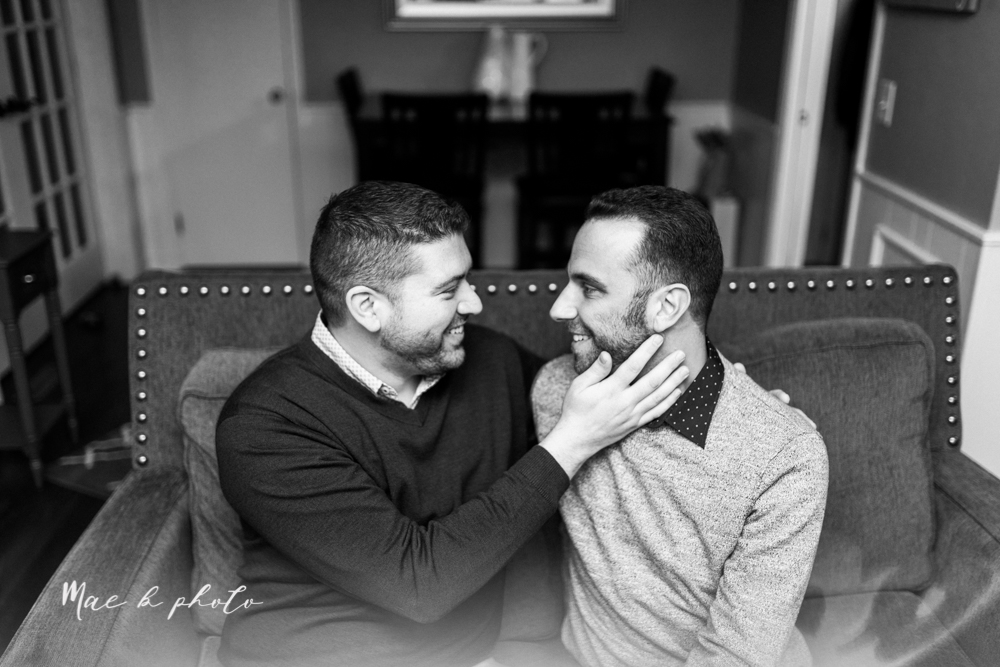 marcus and anthony's same sex winter lifestyle in home engagement session at the chase building in downtown warren ohio and at their home in niles ohio photographed by youngstown wedding photographer mae b photo-34.jpg