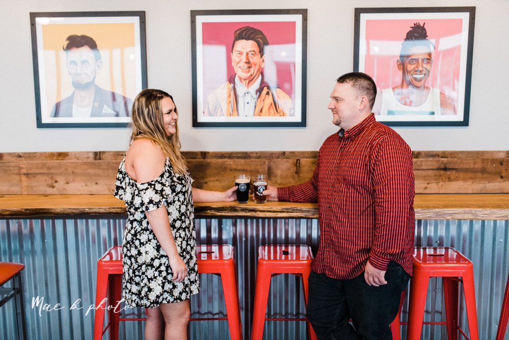 elizabeth and dan's rainy summer engagement session at ford nature center in mill creek park and whistle and keg bar in downtown youngstown ohio photographed by youngstown wedding photographer mae b photo-29.jpg