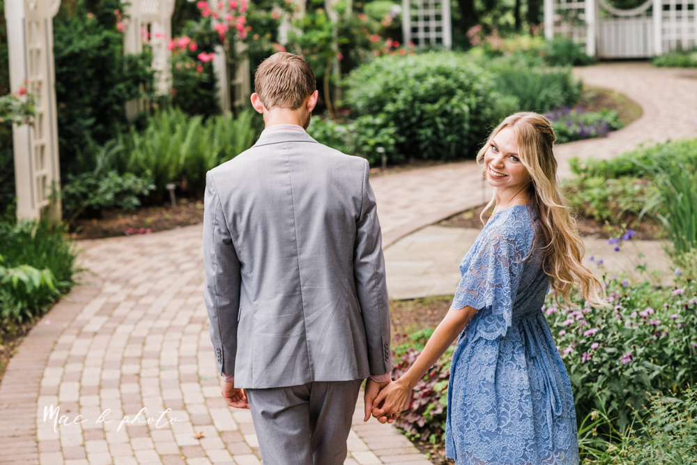 jessica and donny's woodsy adventurous summer engagement session at fellows riverside gardens (the rose gardens) and mill creek park at lantermin's mill in youngstown ohio photographed by youngstown wedding photographer mae b photo -7.jpg