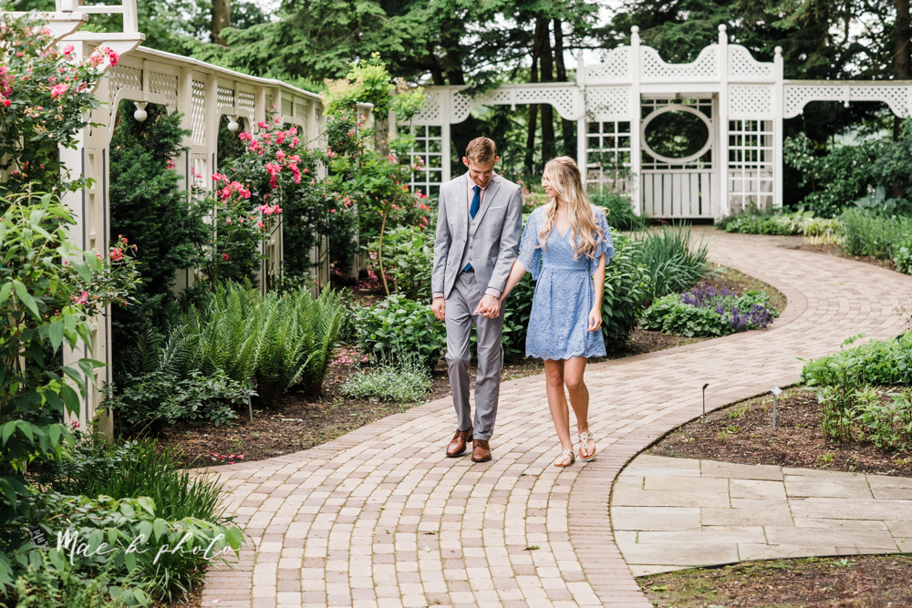 jessica and donny's woodsy adventurous summer engagement session at fellows riverside gardens (the rose gardens) and mill creek park at lantermin's mill in youngstown ohio photographed by youngstown wedding photographer mae b photo -3.jpg