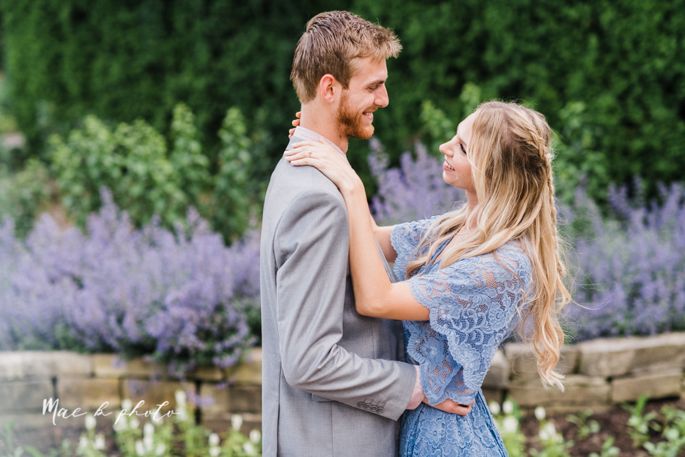 jessica and donny's woodsy adventurous summer engagement session at fellows riverside gardens (the rose gardens) and mill creek park at lantermin's mill in youngstown ohio photographed by youngstown wedding photographer mae b photo -10.jpg