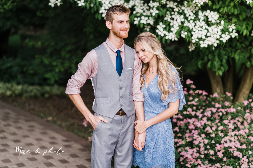 jessica and donny's woodsy adventurous summer engagement session at fellows riverside gardens (the rose gardens) and mill creek park at lantermin's mill in youngstown ohio photographed by youngstown wedding photographer mae b photo -23.jpg