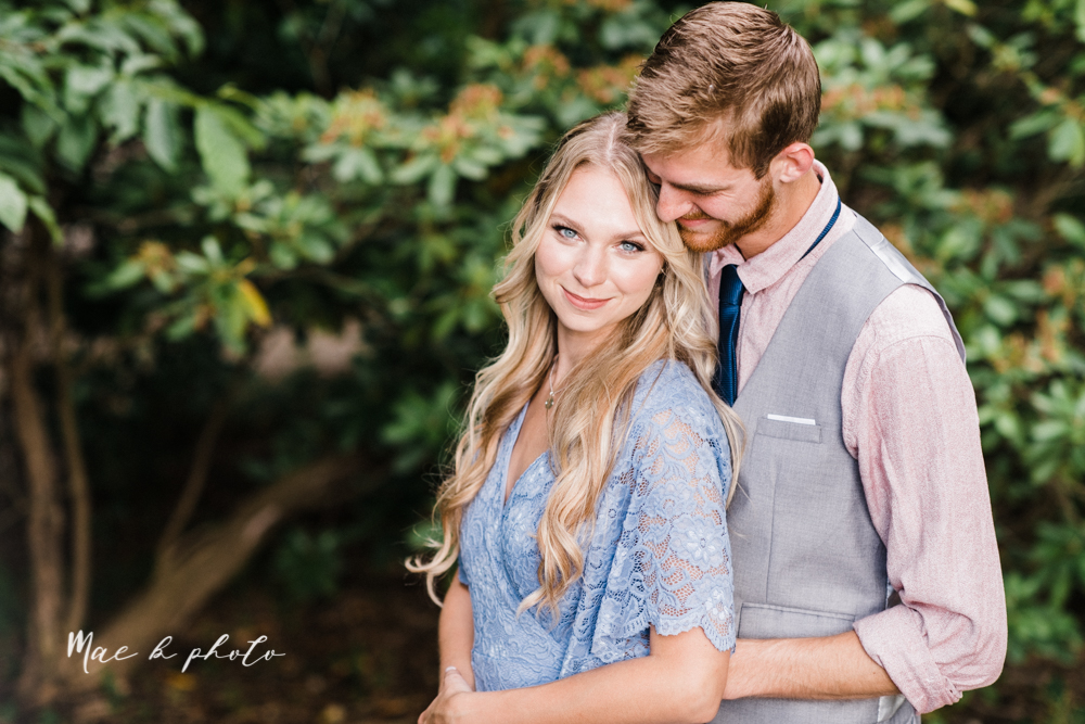 jessica and donny's woodsy adventurous summer engagement session at fellows riverside gardens (the rose gardens) and mill creek park at lantermin's mill in youngstown ohio photographed by youngstown wedding photographer mae b photo -18.jpg