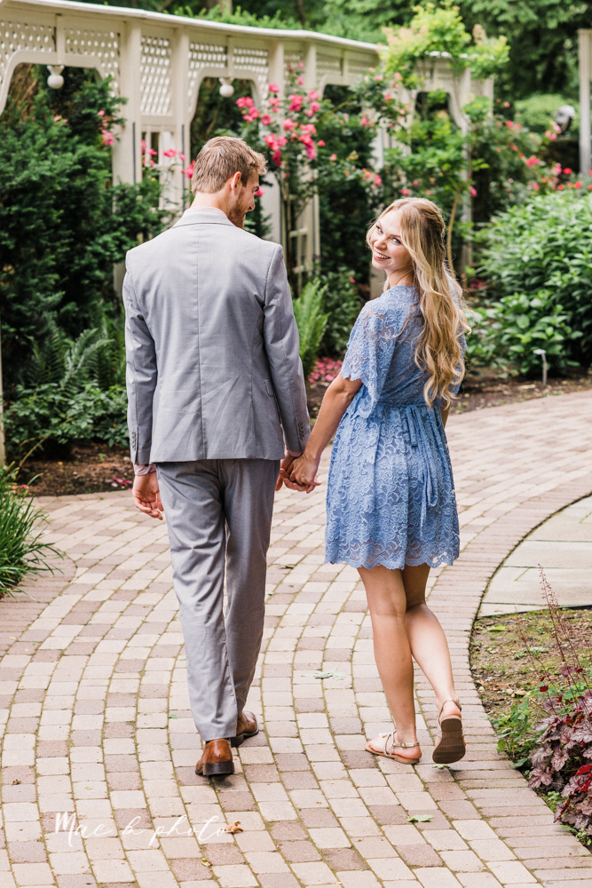jessica and donny's woodsy adventurous summer engagement session at fellows riverside gardens (the rose gardens) and mill creek park at lantermin's mill in youngstown ohio photographed by youngstown wedding photographer mae b photo -8.jpg