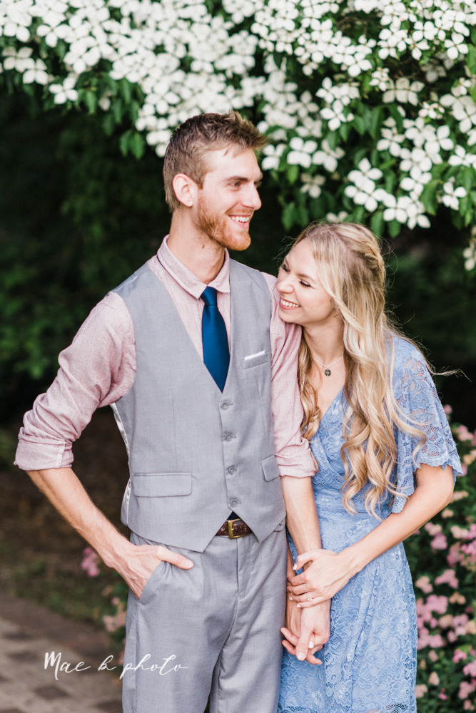 jessica and donny's woodsy adventurous summer engagement session at fellows riverside gardens (the rose gardens) and mill creek park at lantermin's mill in youngstown ohio photographed by youngstown wedding photographer mae b photo -26.jpg