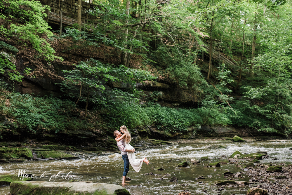 jessica and donny's woodsy adventurous summer engagement session at fellows riverside gardens (the rose gardens) and mill creek park at lantermin's mill in youngstown ohio photographed by youngstown wedding photographer mae b photo -37.jpg