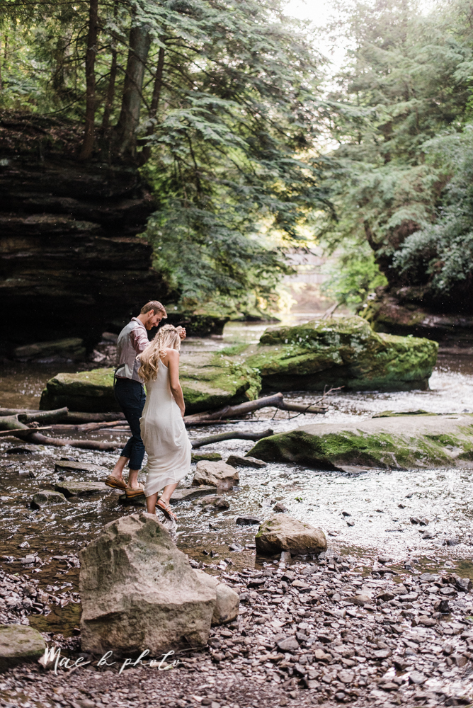 jessica and donny's woodsy adventurous summer engagement session at fellows riverside gardens (the rose gardens) and mill creek park at lantermin's mill in youngstown ohio photographed by youngstown wedding photographer mae b photo -32.jpg