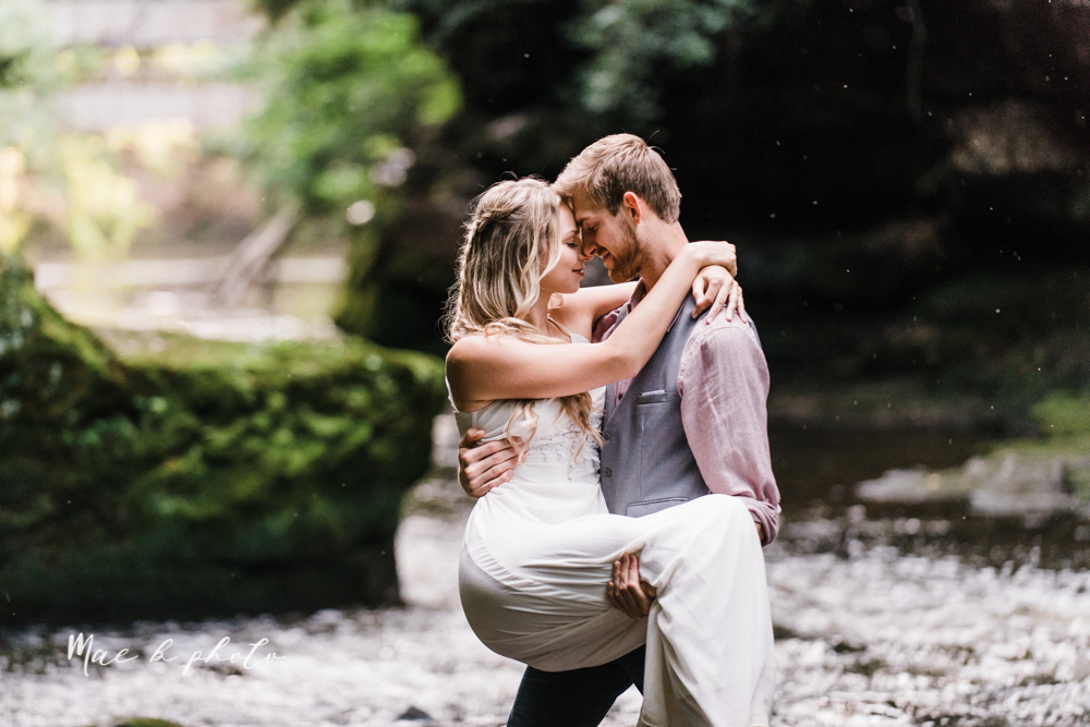 jessica and donny's woodsy adventurous summer engagement session at fellows riverside gardens (the rose gardens) and mill creek park at lantermin's mill in youngstown ohio photographed by youngstown wedding photographer mae b photo -36.jpg