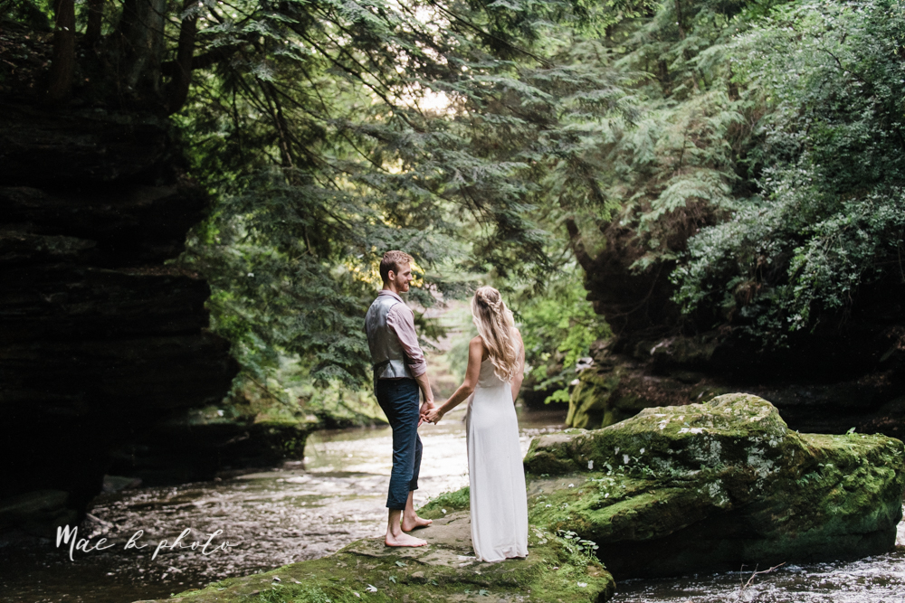 jessica and donny's woodsy adventurous summer engagement session at fellows riverside gardens (the rose gardens) and mill creek park at lantermin's mill in youngstown ohio photographed by youngstown wedding photographer mae b photo -38.jpg