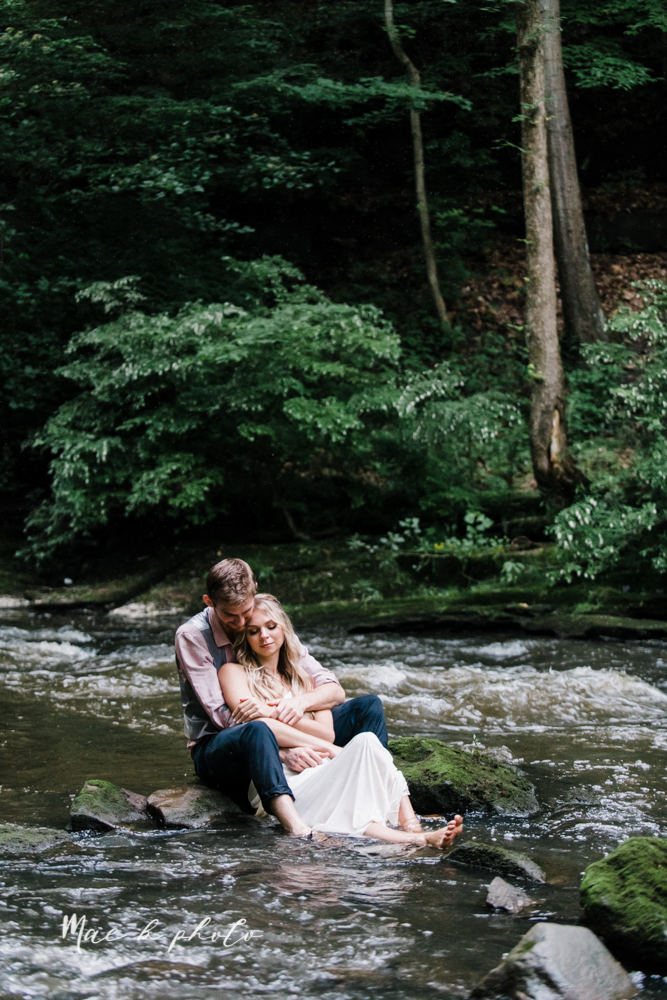 jessica and donny's woodsy adventurous summer engagement session at fellows riverside gardens (the rose gardens) and mill creek park at lantermin's mill in youngstown ohio photographed by youngstown wedding photographer mae b photo -48.jpg