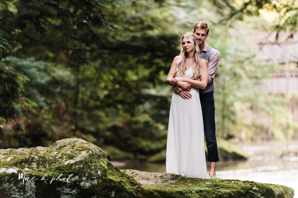 jessica and donny's woodsy adventurous summer engagement session at fellows riverside gardens (the rose gardens) and mill creek park at lantermin's mill in youngstown ohio photographed by youngstown wedding photographer mae b photo -44.jpg