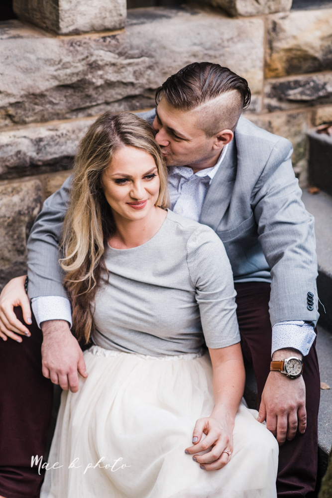 courtney and andy's vintage fall engagement session in mill creek park at pioneer pavilion and lake glacier in youngstown ohio photographed by youngstown wedding photographer mae b photo-28.jpg