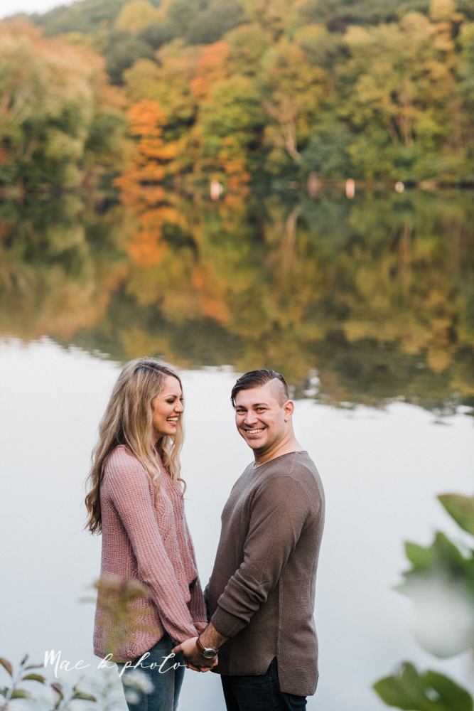 courtney and andy's vintage fall engagement session in mill creek park at pioneer pavilion and lake glacier in youngstown ohio photographed by youngstown wedding photographer mae b photo-51.jpg