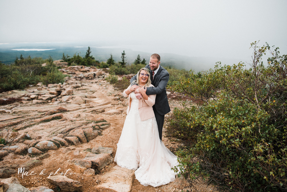 lyndsay and nate's intimate unique untraditional fall acadia national park elopement at eagle lake and cadillac mountain in bar harbor maine and honeymoon sunrise session at otter cliff photographed by youngstown wedding photographer mae b photo-157.jpg