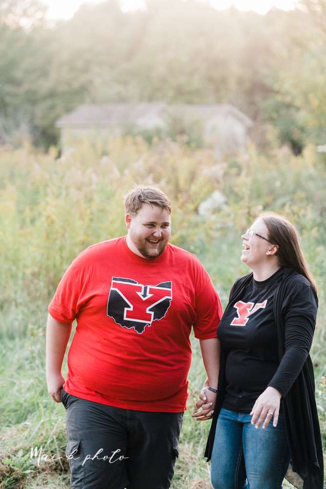 delorean and chase's backyard fall engagement session with youngstown state university shirts and a rescue dog from the mahoning county dog pound photographed by youngstown wedding photographer mae b photo-43.jpg