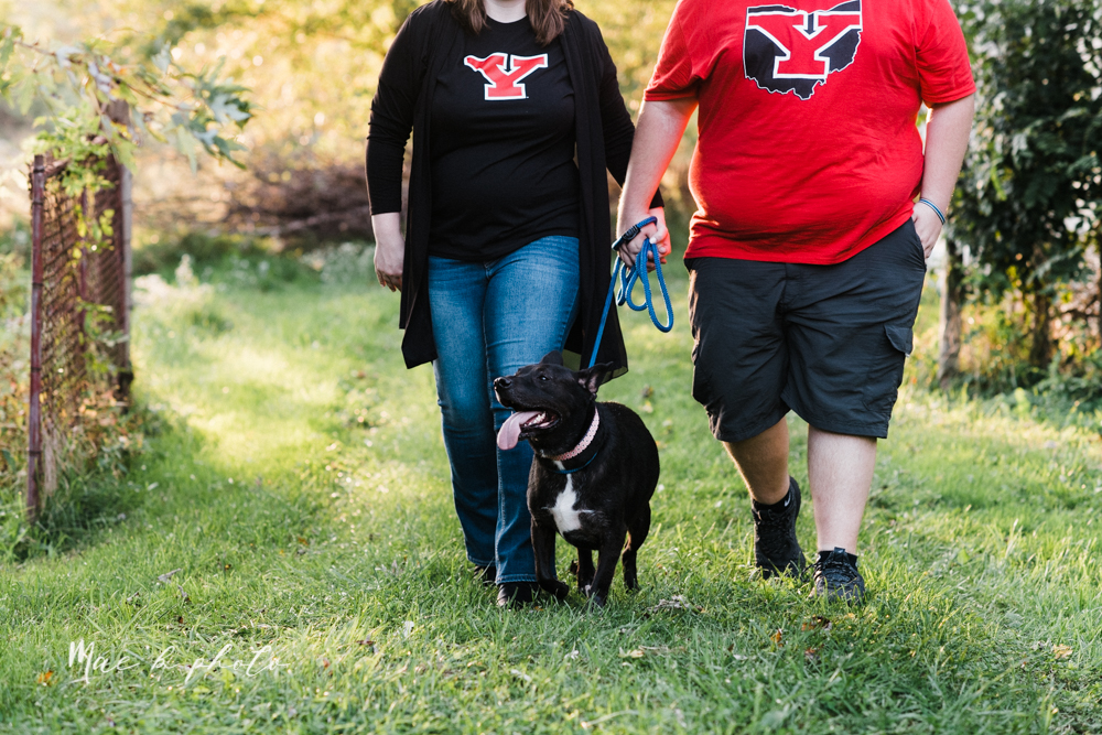 delorean and chase's backyard fall engagement session with youngstown state university shirts and a rescue dog from the mahoning county dog pound photographed by youngstown wedding photographer mae b photo-28.jpg