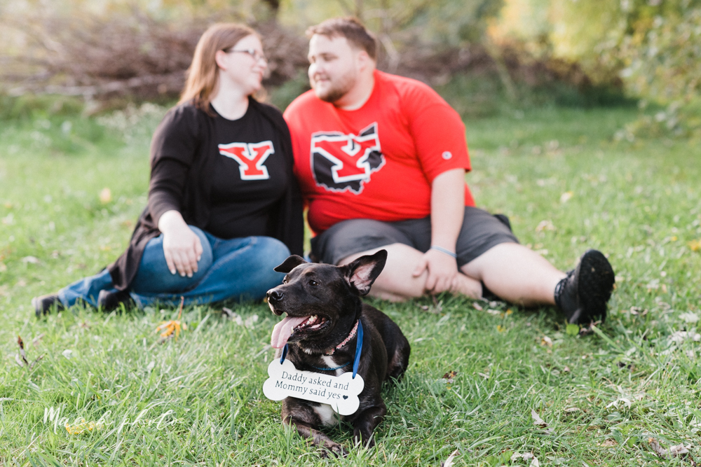 delorean and chase's backyard fall engagement session with youngstown state university shirts and a rescue dog from the mahoning county dog pound photographed by youngstown wedding photographer mae b photo-39.jpg