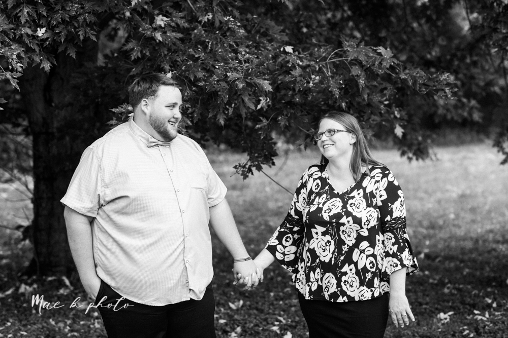 delorean and chase's backyard fall engagement session with youngstown state university shirts and a rescue dog from the mahoning county dog pound photographed by youngstown wedding photographer mae b photo-3.jpg