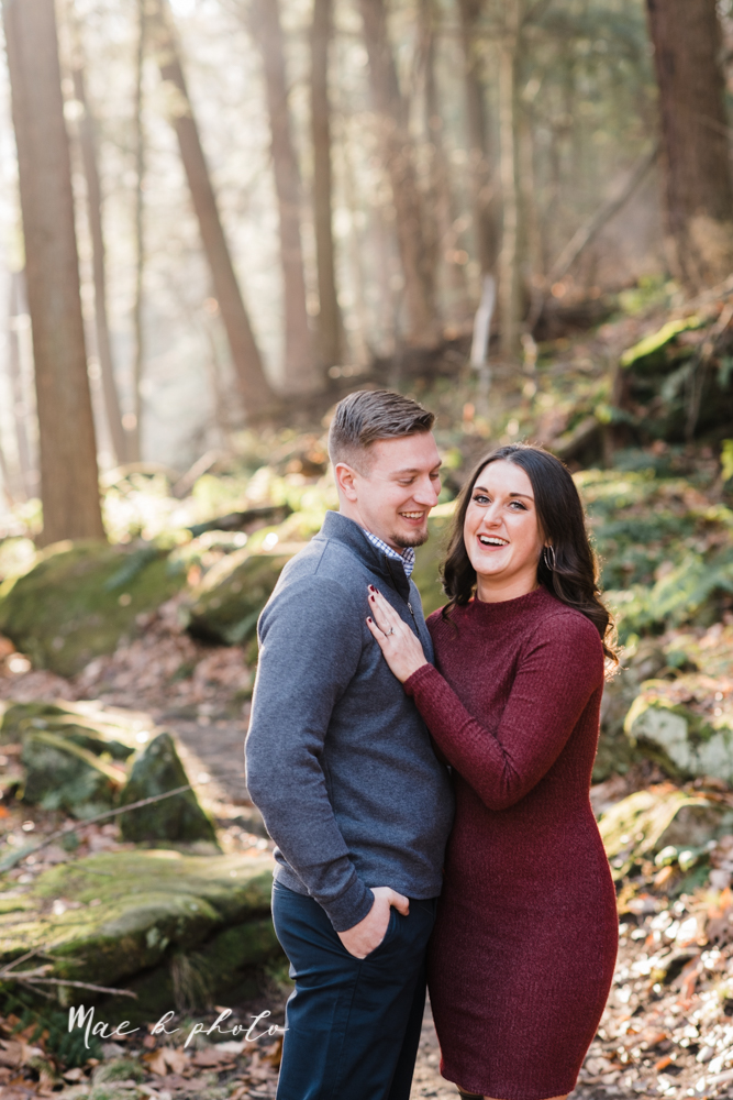 shelby and tyler's winter engagement session in northeast ohio at the cinderella bridge silver bridge and lanterman's mill in mill creek park in youngstown ohio photographed by youngstown wedding photographer mae b photo-8.jpg