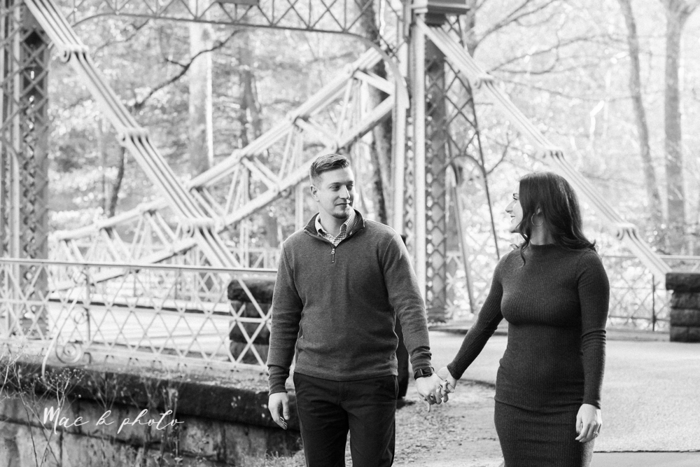 shelby and tyler's winter engagement session in northeast ohio at the cinderella bridge silver bridge and lanterman's mill in mill creek park in youngstown ohio photographed by youngstown wedding photographer mae b photo-31.jpg
