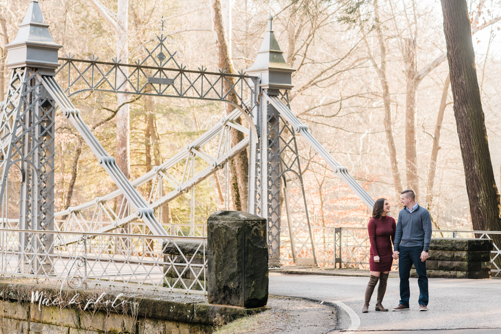 shelby and tyler's winter engagement session in northeast ohio at the cinderella bridge silver bridge and lanterman's mill in mill creek park in youngstown ohio photographed by youngstown wedding photographer mae b photo-30.jpg