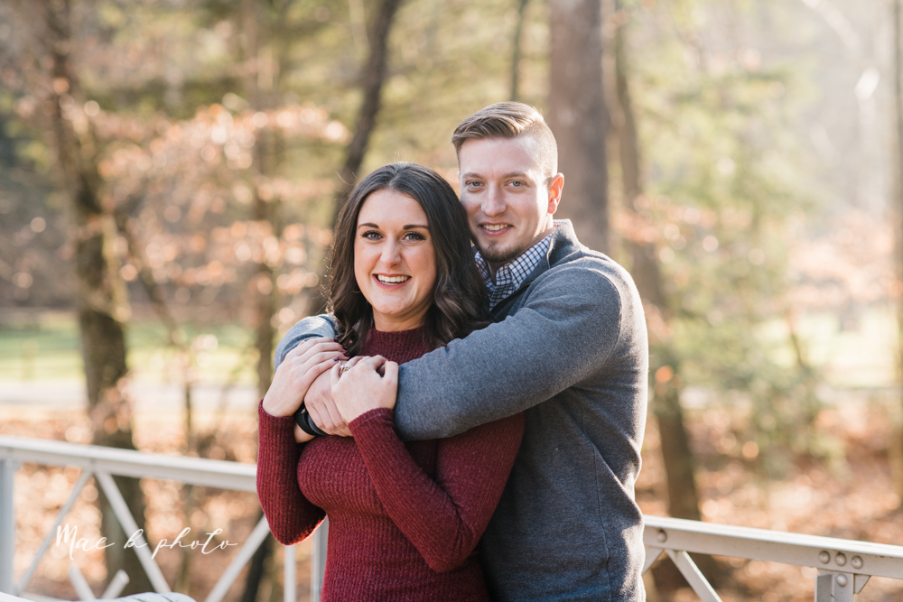 shelby and tyler's winter engagement session in northeast ohio at the cinderella bridge silver bridge and lanterman's mill in mill creek park in youngstown ohio photographed by youngstown wedding photographer mae b photo-5.jpg