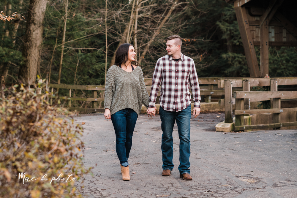 shelby and tyler's winter engagement session in northeast ohio at the cinderella bridge silver bridge and lanterman's mill in mill creek park in youngstown ohio photographed by youngstown wedding photographer mae b photo-55.jpg