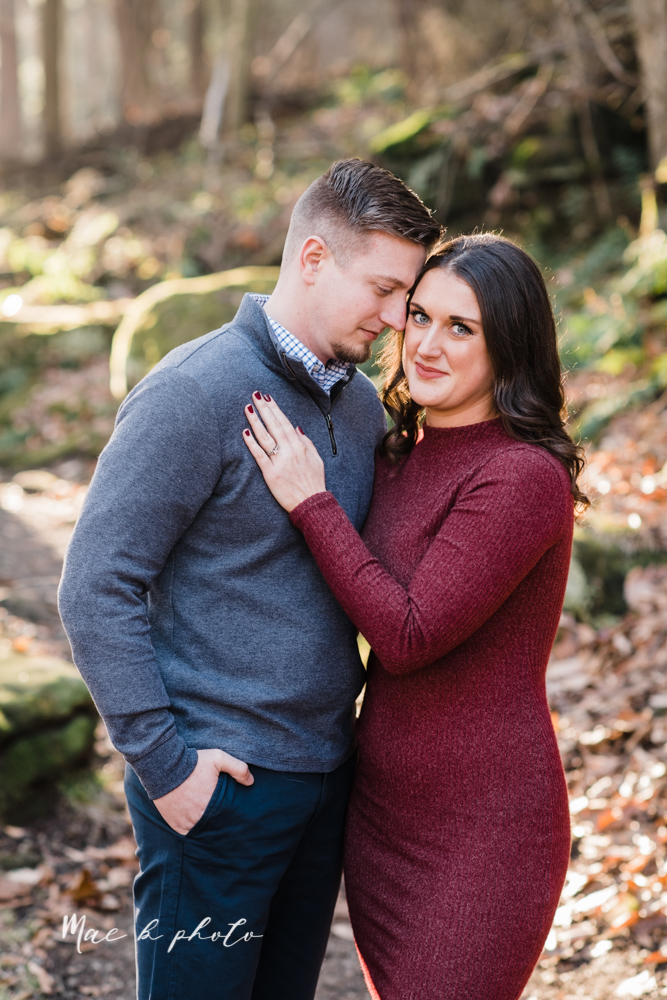 shelby and tyler's winter engagement session in northeast ohio at the cinderella bridge silver bridge and lanterman's mill in mill creek park in youngstown ohio photographed by youngstown wedding photographer mae b photo-12.jpg
