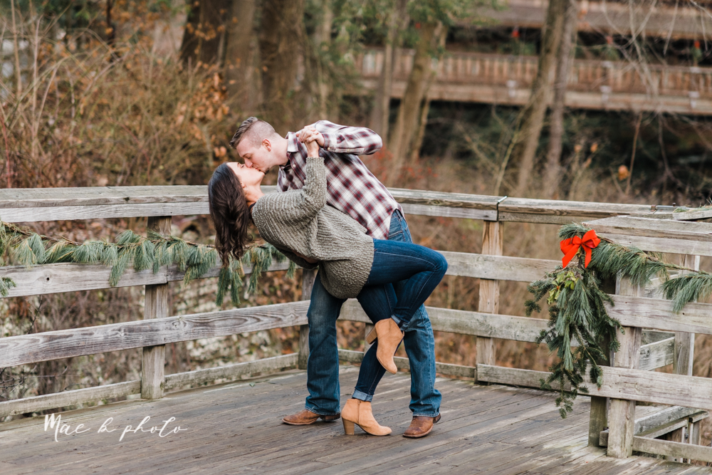 shelby and tyler's winter engagement session in northeast ohio at the cinderella bridge silver bridge and lanterman's mill in mill creek park in youngstown ohio photographed by youngstown wedding photographer mae b photo-52.jpg