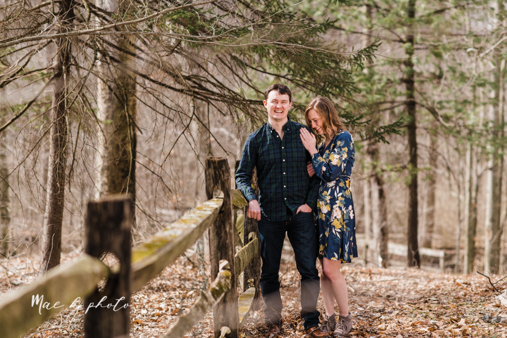christina and michael's hometown woodsy playful early spring engagement session at poland forest in poland ohio and poland library and handels ice cream in canfield ohio photographed by youngstown wedding photographer mae b photo-33.jpg