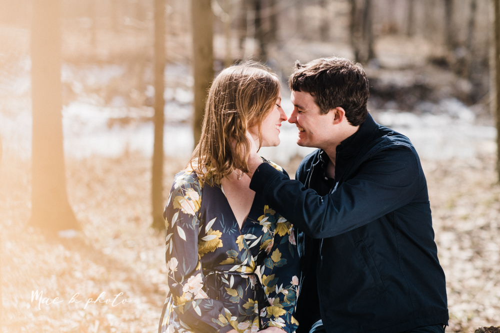 christina and michael's hometown woodsy playful early spring engagement session at poland forest in poland ohio and poland library and handels ice cream in canfield ohio photographed by youngstown wedding photographer mae b photo-26.jpg