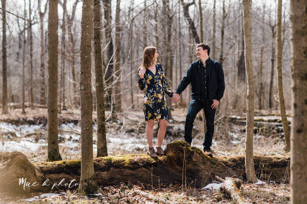 christina and michael's hometown woodsy playful early spring engagement session at poland forest in poland ohio and poland library and handels ice cream in canfield ohio photographed by youngstown wedding photographer mae b photo-29.jpg