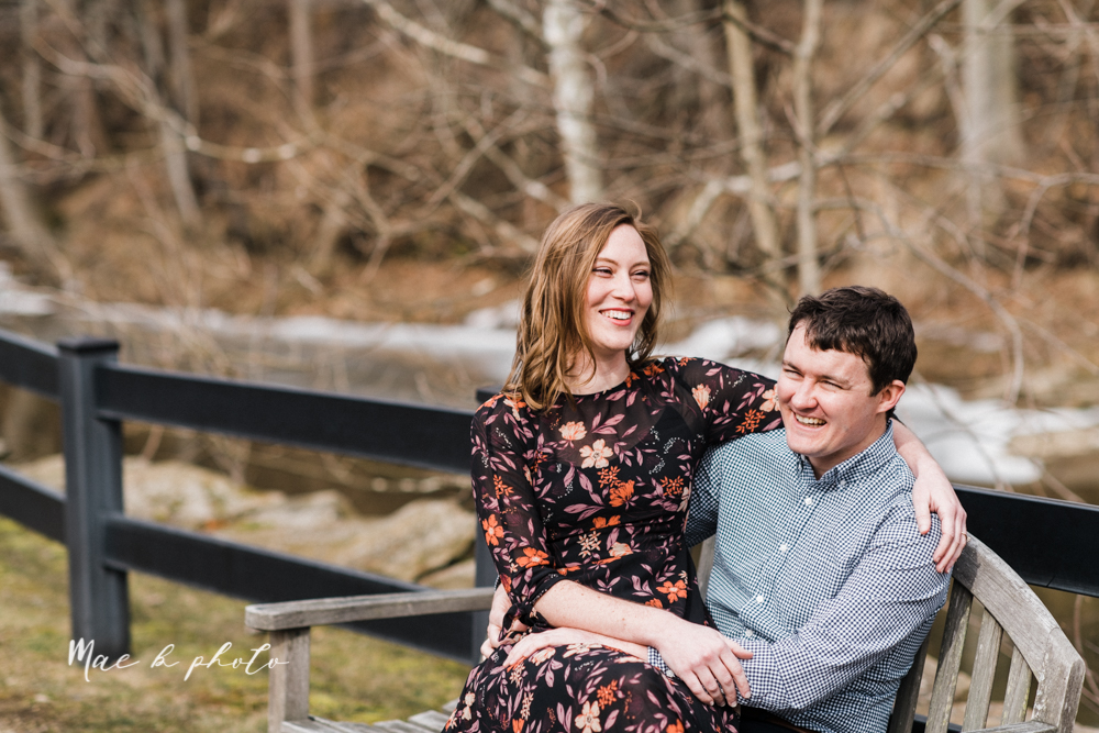 christina and michael's hometown woodsy playful early spring engagement session at poland forest in poland ohio and poland library and handels ice cream in canfield ohio photographed by youngstown wedding photographer mae b photo-52.jpg