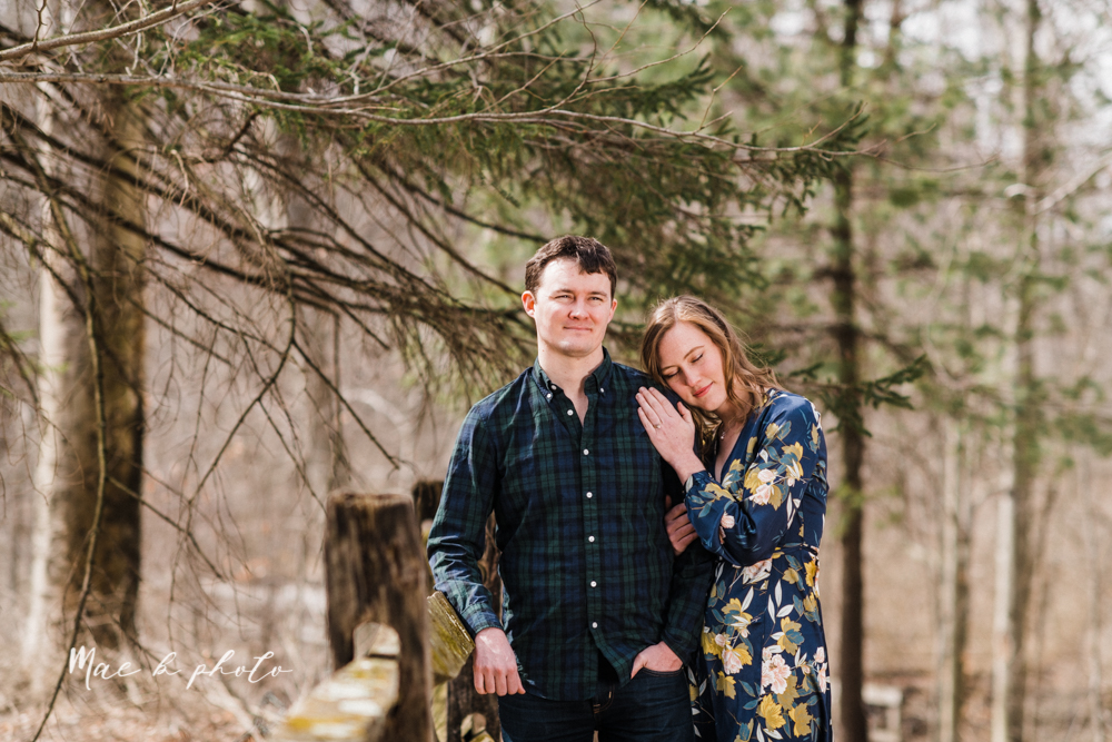 christina and michael's hometown woodsy playful early spring engagement session at poland forest in poland ohio and poland library and handels ice cream in canfield ohio photographed by youngstown wedding photographer mae b photo-35.jpg