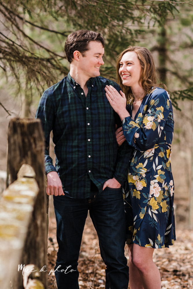 christina and michael's hometown woodsy playful early spring engagement session at poland forest in poland ohio and poland library and handels ice cream in canfield ohio photographed by youngstown wedding photographer mae b photo-37.jpg