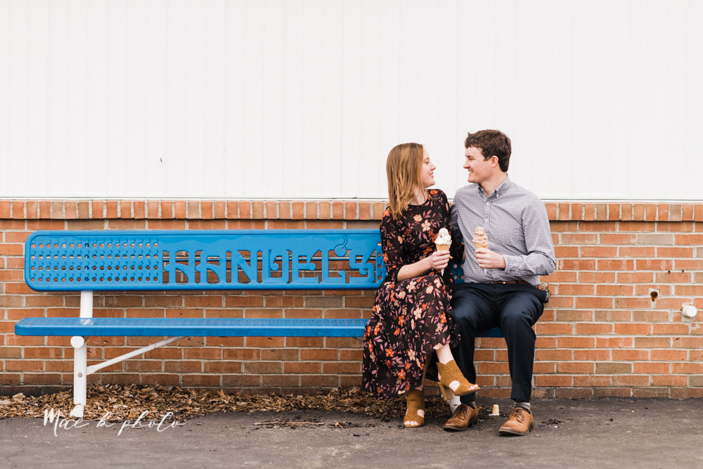 christina and michael's hometown woodsy playful early spring engagement session at poland forest in poland ohio and poland library and handels ice cream in canfield ohio photographed by youngstown wedding photographer mae b photo-53.jpg