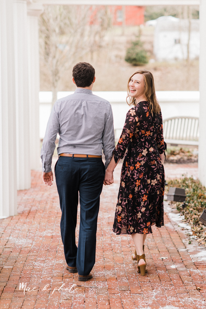 christina and michael's hometown woodsy playful early spring engagement session at poland forest in poland ohio and poland library and handels ice cream in canfield ohio photographed by youngstown wedding photographer mae b photo-46.jpg
