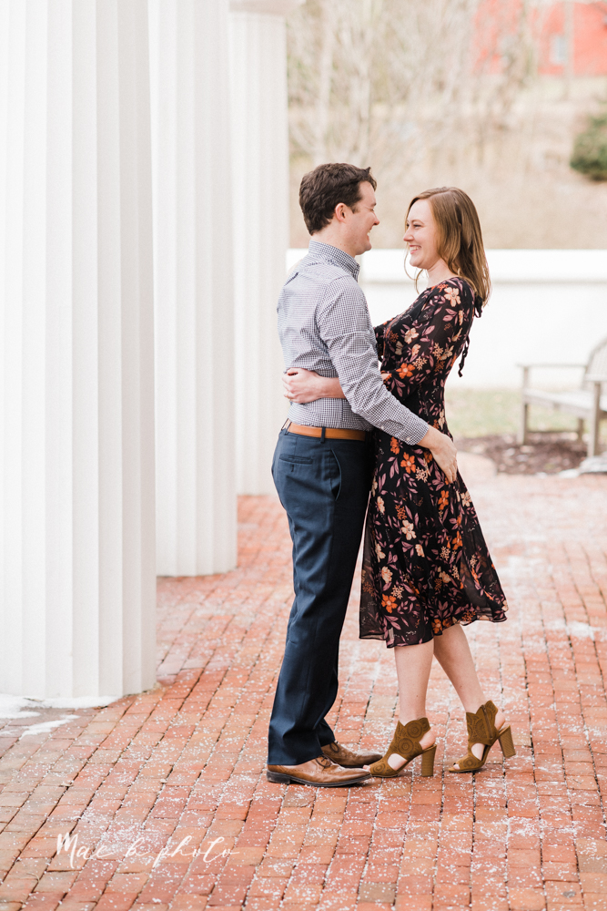 christina and michael's hometown woodsy playful early spring engagement session at poland forest in poland ohio and poland library and handels ice cream in canfield ohio photographed by youngstown wedding photographer mae b photo-48.jpg
