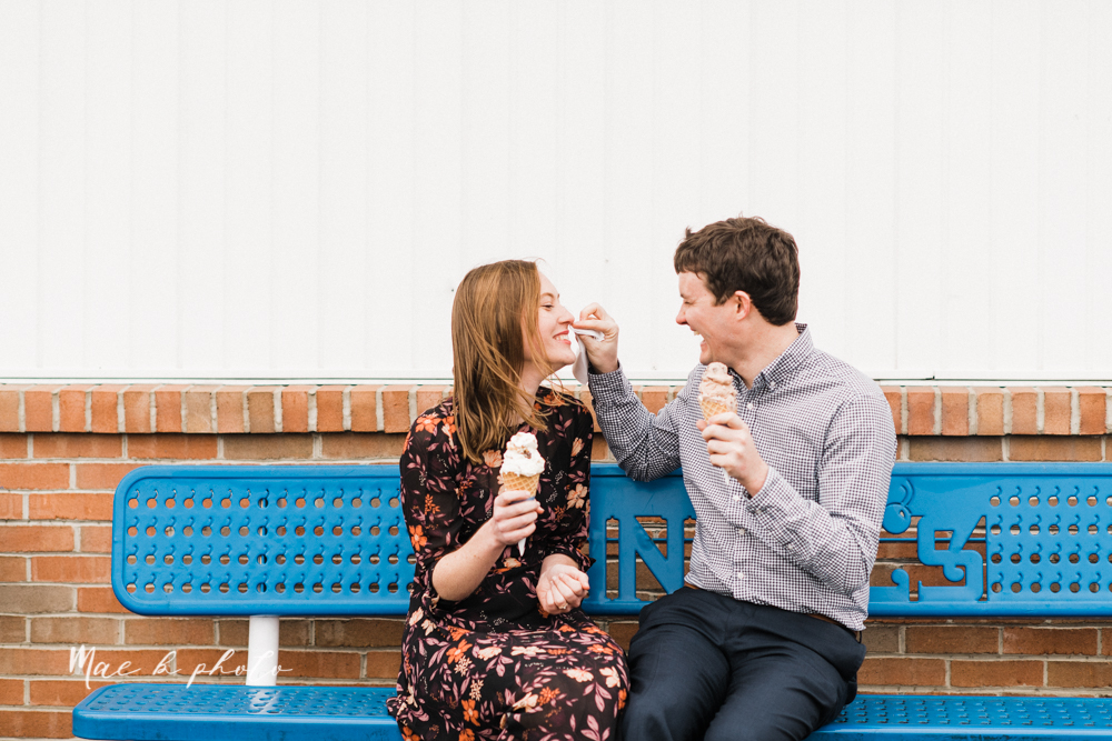 christina and michael's hometown woodsy playful early spring engagement session at poland forest in poland ohio and poland library and handels ice cream in canfield ohio photographed by youngstown wedding photographer mae b photo-56.jpg