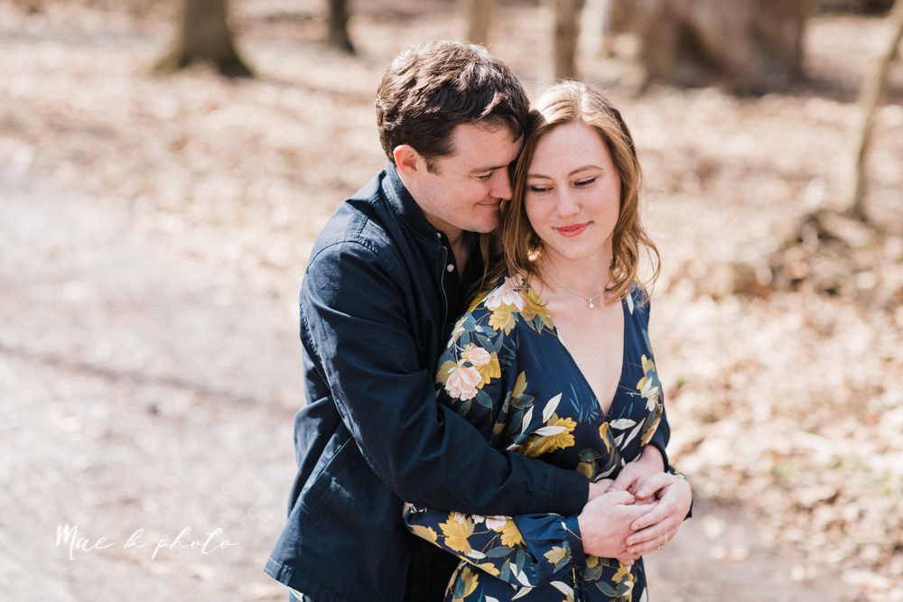 christina and michael's hometown woodsy playful early spring engagement session at poland forest in poland ohio and poland library and handels ice cream in canfield ohio photographed by youngstown wedding photographer mae b photo-19.jpg