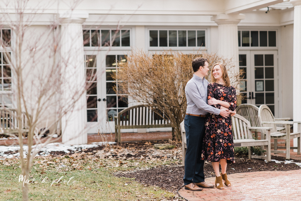 christina and michael's hometown woodsy playful early spring engagement session at poland forest in poland ohio and poland library and handels ice cream in canfield ohio photographed by youngstown wedding photographer mae b photo-49.jpg