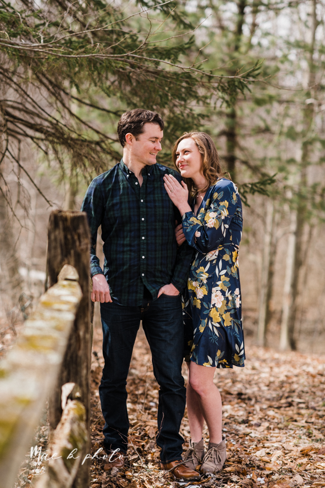 christina and michael's hometown woodsy playful early spring engagement session at poland forest in poland ohio and poland library and handels ice cream in canfield ohio photographed by youngstown wedding photographer mae b photo-36.jpg