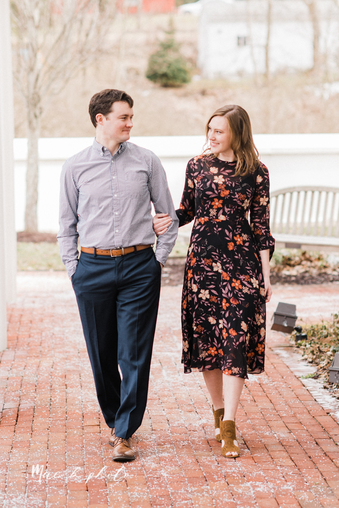 christina and michael's hometown woodsy playful early spring engagement session at poland forest in poland ohio and poland library and handels ice cream in canfield ohio photographed by youngstown wedding photographer mae b photo-42.jpg