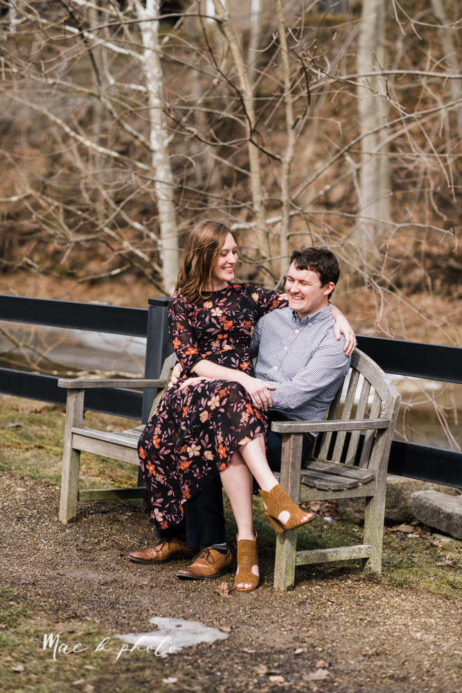 christina and michael's hometown woodsy playful early spring engagement session at poland forest in poland ohio and poland library and handels ice cream in canfield ohio photographed by youngstown wedding photographer mae b photo-51.jpg
